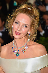 Uma Thurman attending the Costume Institute Benefit at The Metropolitan Museum of Art celebrating the opening of Heavenly Bodies: Fashion and the Catholic Imagination. The Metropolitan Museum of Art, New York City, New York, May 7, 2018. Photo by Lionel Hahn/ABACAPRESS.COM