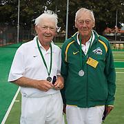 Douglas Corbett, Australia, (left) and Harward Hillier, Australia, Runners Up, 80 Mens Doubles during the 2009 ITF Super-Seniors World Team and Individual Championships at Perth, Western Australia, between 2-15th November, 2009.