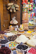 Spices, sweets and fragrances for sale at a stall in a souq in the Old City in Damascus, Syria
