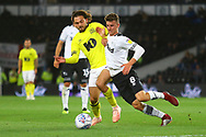 Derby County midfielder Mason Mount (8) and Blackburn Rovers midfielder Bradley Dack (23) during the EFL Sky Bet Championship match between Derby County and Blackburn Rovers at the Pride Park, Derby, England on 18 September 2018.