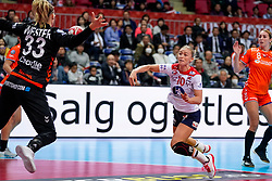 06-12-2019 JAP: Norway - Netherlands, Kumamoto<br /> Last match groep A at 24th IHF Women's Handball World Championship. / The Dutch handball players won in an exciting game of fear gegner Norway and wrote in the last group match at the World Handball  World Championship history (30-28). / Danick Snelder #10 of Netherlands, Lois Abbingh #8 of Netherlands, Tess Wester #33 of Netherlands