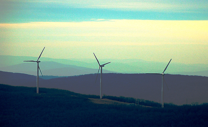 Aerial Photograph of Windmill Power in the Pennsylvania Countryside, poconos