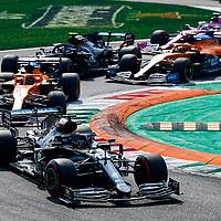 06.09.2020, Autodromo Nazionale di Monza, Monza, FORMULA 1 GRAN PREMIO HEINEKEN D'ITALIA 2020<br />,im Bild<br />Rennstart:<br />Lewis Hamilton (GB#44), Mercedes-AMG Petronas F1 Team, Carlos Sainz Jr. (SPA#55), McLaren F1 Team, Lando Norris (GBR#4), McLaren F1 Team, Valtteri Bottas (FIN#77), Mercedes-AMG Petronas F1 Team, Sergio Perez (MEX#11), BWT Racing Point F1 Team, Daniel Ricciardo (AUS#3), Renault DP World F1 Team<br /> <br /> Foto © nordphoto / Bratic