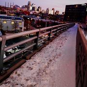 West Pennway icy sidewalk above the railways, December 2019 at Downtown Kansas City, Missouri.