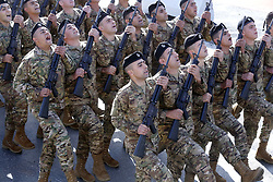 Nov. 22, 2018 - Beirut, Lebanon - Soldiers march during a military parade marking the 75th Independence Day in Beirut, Lebanon. Lebanon celebrated the 75th anniversary of its independence with a military parade in downtown Beirut on Thursday. (Credit Image: © Bilal Jawich/Xinhua via ZUMA Wire)
