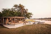 Exterior view of Chinzombo Safari Lodge, Luangwa River. Zambia, Africa