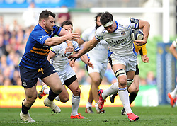 Francois Louw of Bath Rugby looks to get past Cian Healy of Leinster Rugby - Photo mandatory by-line: Patrick Khachfe/JMP - Mobile: 07966 386802 04/04/2015 - SPORT - RUGBY UNION - Dublin - Aviva Stadium - Leinster Rugby v Bath Rugby - European Rugby Champions Cup
