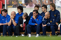 Fotball<br /> Foto: SBI/Digitalsport<br /> NORWAY ONLY<br /> <br /> Clyde v Manchester United, Preseason Friendly. 16/07/2005.<br /> <br /> The Manchester United bench can hardly believe it as Clyde find the back of the net.