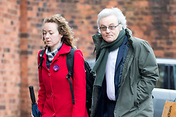 © Licensed to London News Pictures. 22/11/2017. Wakefield, UK. Don Maguire (husband of Ann Maguire) & Kerry Maguire (daughter of Ann Maguire) arrive at Wakefield Coroners Court this morning for the Ann Maguire inquest. Mrs Maguire, a 61 year old Spanish teacher, was stabbed to death by Will Cornick at Corpus Christi Catholic College in Leeds in April 2014. The school pupil, who was 15 at the time, admitted murdering Mrs Maguire and was given a life sentence later that year. Since then, some of Mrs Maguire's family have campaigned for further investigation into her death as they believe more could have been done to prevent the tragedy. Photo credit: Andrew McCaren/LNP