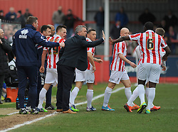 Cheltenham Town Manager, Russell Milton celebrates with the team after going 1-0.  - Photo mandatory by-line: Nizaam Jones - Mobile: 07966 386802 - 28/02/2015 - SPORT - Football - Cheltenham- Whaddon Road - Cheltenham Town v Tranmere Rovers - Sky Bet League Two