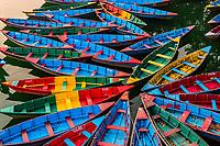 Colorful rowboats, Phewa Lake, Pokhara, Nepal.