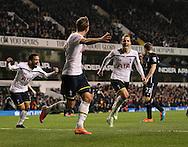 Tottenham's Roberto Soldado celebrates scoring his sides second goal<br /> <br /> Barclays Premier League- Tottenham Hotspur vs Everton - White Hart Lane - England - 30th November 2014 - Picture David Klein/Sportimage
