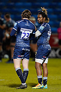 Sale Sharks wing Marland Yarde talks with Simon Hammersley during a Gallagher Premiership Round 12 Rugby Union match, Friday, Mar 05, 2021, in Eccles, United Kingdom. (Steve Flynn/Image of Sport)