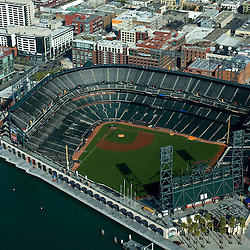 Aerial  view of the  AT&T Park, Home of the San Francisco Giants.  2010 National league champions, 24 Willie Mays Plaza, San Francisco, CA  as seen in May 2007 (AP Photo/Julia Robertson)