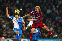 Fotball<br /> Premier League England 2004/2005<br /> Foto: SBI/Digitalsport<br /> NORWAY ONLY<br /> <br /> Crystal Palace v Blackburn Rovers<br /> Barclays Premiership. 11/12/2004<br /> <br /> Aki Riihilahti of Palace goes up for this one with Brett Emerton of Blackburn