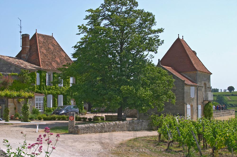 The main building and vineyard Chateau Belair (Bel Air) 1er premier Grand Cru Classe Saint Emilion Bordeaux Gironde Aquitaine France