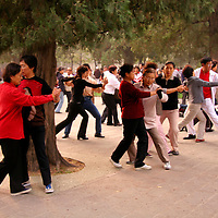 Asia, China, Beijing. Ballroom dance for exercise and fitness in Tiantan, or temple of Heaven Park.