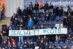 South stand fans. <br /> Falkirk 0 v 3 Hibernian, Scottish Championship game played at The Falkirk Stadium 2/5/2015.
