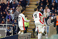 Photo: Kevin Poolman.<br />Reading v Birmingham City. The FA Cup. 28/01/2006.<br />Jermaine Pennant (L) and Neil Kilkenny join David Dunn to celebrate the Birmingham goal.