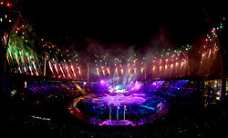 Fireworks are set off as the final performance takes place during the Opening Ceremony for the 2018 Commonwealth Games at the Carrara Stadium in the Gold Coast, Australia.