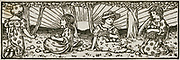 Little girls collecting apples. Engraving, 1892