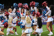 the Crystal Cheerleaders with a young fan performing before k/o.Barclays Premier League match, Crystal Palace v Stoke City at Selhurst Park in London on Saturday 7th May 2016. pic by John Patrick Fletcher, Andrew Orchard sports photography.