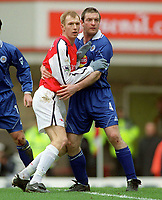 Igors Stepanovs (Arsenal) Gerry Taggart (Leicester City). Arsenal 6:1 Leicester City, FA Carling Premiership, 26/12/2000. Credit Colorsport / Andrew Cowie.