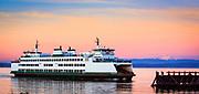 Washington state ferry arriving at Mukilteo ferry terminal