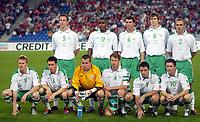Fotball<br /> VM-kvalifisering<br /> Sveits v Irland<br /> Basel<br /> 8. september 2004<br /> Foto: Digitalsport<br /> NORWAY ONLY<br /> Lagbilde Irland<br /> TEAM IRELAND ( BACK ROW LEFT TO RIGHT : ANDY O'BRIEN / CLINTON MORRISON / ROY KEANE / KEVIN KILBANE / STEPHEN CARR  . FRONT ROW : DAMIEN DUFF / STEVE FINNAN / SHAY GIVEN / KEN CUNNINGHAM / ANDY REID / ROBBIE KEANE )