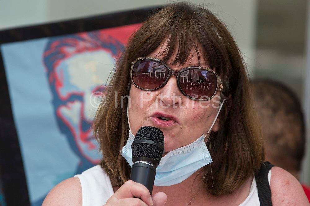 Sandy Palmer, former chair of Hemel Hempstead CLP, addresses supporters of left-wing Labour Party groups at a protest lobby outside the partys headquarters on 20th July 2021 in London, United Kingdom. The lobby was organised to coincide with a Labour Party National Executive Committee meeting during which it was asked to proscribe four organisations, Resist, Labour Against the Witchhunt, Labour In Exile and Socialist Appeal, members of which could then be automatically expelled from the Labour Party.