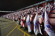 England flags on the seats before the FIFA Women's World Cup UEFA Qualifier match between England Ladies and Wales Women at the St Mary's Stadium, Southampton, England on 6 April 2018. Picture by Graham Hunt.
