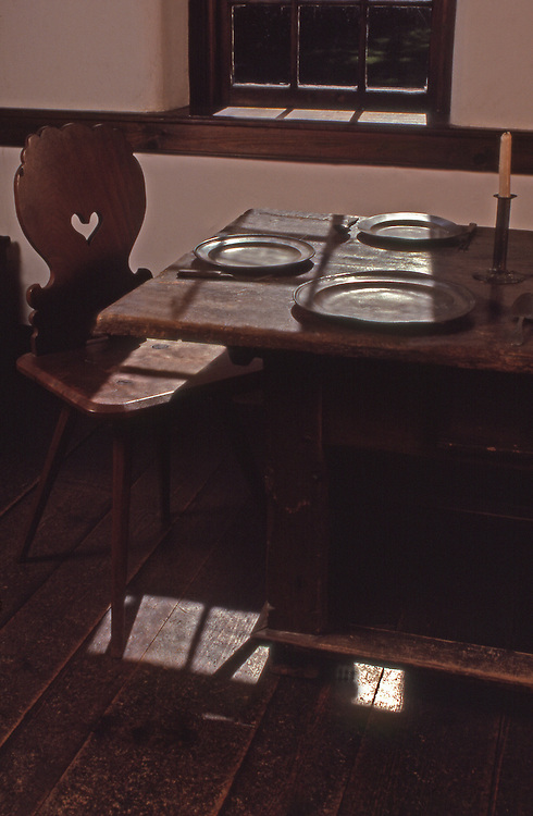 Table with 1700's period table settings, Conrad Weiser homestead, built in 1751, Berks Co., PA