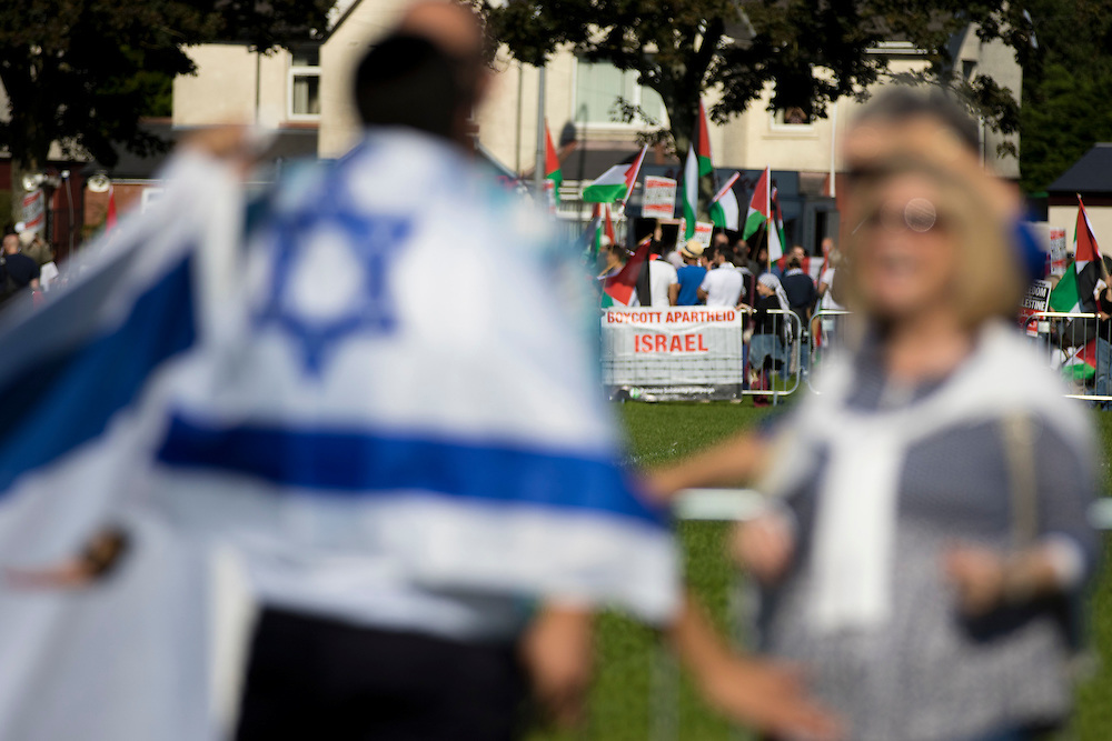The small counter-protest, organised by the Zionist Federation, was kept 100 metres away from the pro-Palestine campaigners in Jubilee Park.