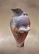 Minoan Kamares Ware beak spouted ewer jug with  polychrome decorations, Phaistos 1800-1600 BC; Heraklion Archaeological  Museum.<br /> <br /> This style of pottery is named afetr Kamares cave where this style of pottery was first found .<br /> <br /> If you prefer to buy from our ALAMY PHOTO LIBRARY  Collection visit : https://www.alamy.com/portfolio/paul-williams-funkystock/minoan-art-artefacts.html . Type -   Heraklion   - into the LOWER SEARCH WITHIN GALLERY box. Refine search by adding background colour, place, museum etc<br /> <br /> Visit our MINOAN ART PHOTO COLLECTIONS for more photos to download  as wall art prints https://funkystock.photoshelter.com/gallery-collection/Ancient-Minoans-Art-Artefacts-Antiquities-Historic-Places-Pictures-Images-of/C0000ricT2SU_M9w