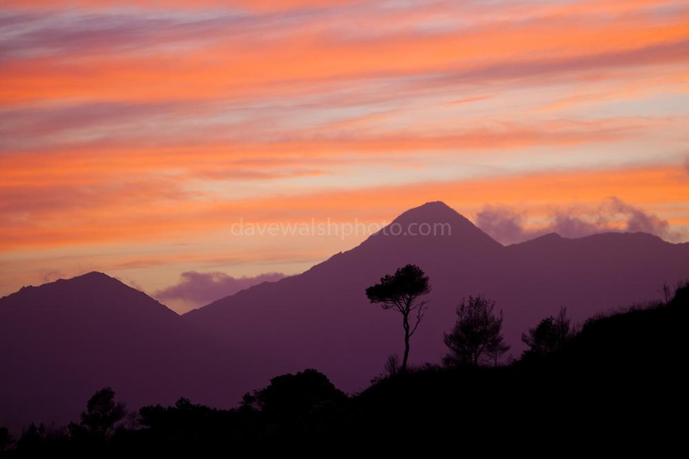 Sunset above the Beara Peninsula, West Cork, Ireland.