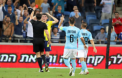 Scotland's Jon Soutattar is shown a red card during the UEFA Nations League Group C1 match at the Sammy Ofer Stadium, Haifa.