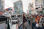 Left-wingers and activists against the Emperor system in Japan demonstrate against the visit of US President, Donald Trump to Japan and the Emperor system. Shinjuku, Tokyo, Japan. Sunday May 26th 2019. A small group of about 50 activists who object to the Japanese Imperial family system was met by a counter-protest of right-wingers and nationalists.