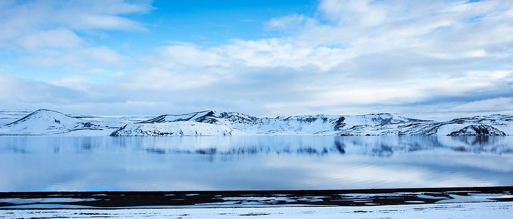 Spectacular Brennisteinsfjoll volcanic mountains and Kleifarvatn lake on Reykjanes peninsula, Reykjavik, South Iceland
