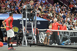 September 22, 2018 - Chicago, Illinois, United States - JOHN MCENROE has a discussion with the chair umpire during the Laver Cup tennis event in Chicago. (Credit Image: © Christopher Levy/ZUMA Wire)