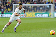 Swansea City's Neil Taylor in action. Barclays Premier league match, Swansea city v Norwich city at the Liberty Stadium in Swansea, South Wales on Saturday 5th March 2016.<br /> pic by  Carl Robertson, Andrew Orchard sports photography.