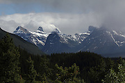 Stormy Skies over some mountains just south of Jasper, Alberta, Canada, at the top of the Icefields Parkway