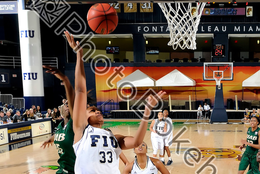 2016 February 04 - FIU's Brianna Wright (33). <br /> Florida International University defeated UAB, at FIU Arena, Miami, Florida. (Photo by: Alex J. Hernandez / photobokeh.com) This image is copyright by PhotoBokeh.com and may not be reproduced or retransmitted without express written consent of PhotoBokeh.com. ©2016 PhotoBokeh.com - All Rights Reserved
