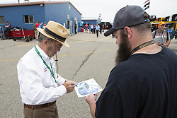 June 10, 2018 - Brooklyn, Michigan, U.S - JACK ROUSH, founder, CEO, and co-owner of Roush Fenway Racing signs autographs at Michigan International Speedway. (Credit Image: © Scott Mapes via ZUMA Wire)