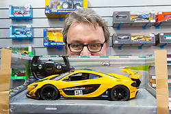 A detailed model of a McLaren race car is displayed at the Toy Fair at Kensington Olympia in London, the UK's largest dedicated game and hobby exhibition featuring the hottest and most anticipated products for the year ahead. London, January 22 2019.
