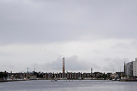 Grand Canal docks in Dublin, Ireland, view of the Ringsend power station chimneys in background