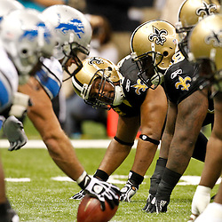 December 4, 2011; New Orleans, LA, USA; New Orleans Saints defensive end Will Smith (91) and defensive tackle Sedrick Ellis (98) lineup against the Detroit Lions during a game at the Mercedes-Benz Superdome. The Saints defeated the Lions 31-17. Mandatory Credit: Derick E. Hingle-US PRESSWIRE