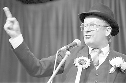 South African playwright, actor, author and comedian Pieter-Dirk Uys, appearing in cabaret ('Adapt or Dye') at the Assembly Rooms during the Edinburgh Festival Fringe, August 1989. (Credit ANY Usage: © Scotsman/ZUMA Press)