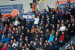 South stand after Myles Hippolyte scored their second goal. Falkirk 2 v 1 Dunfermline, Scottish Championship game played 15/10/2016, at The Falkirk Stadium.