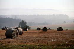 CZECH REPUBLIC VYSOCINA NEDVEZI 20AUG15 - <br /> <br /> Harvested field of wheat and bales of straw in the morning mist near the village of Nedvezi, Vysocina, Czech Republic.<br /> <br /> jre/Photo by Jiri Rezac<br /> <br /> <br /> <br /> © Jiri Rezac 2015