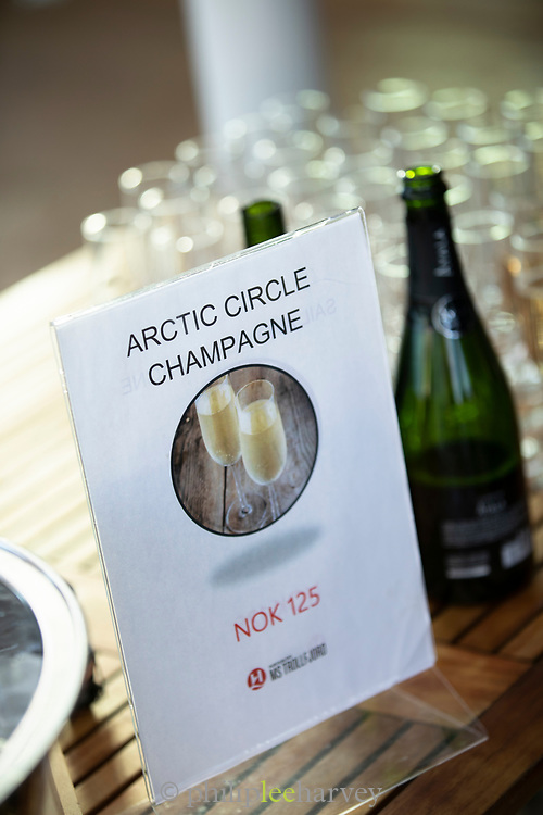Close-up of champagne for sale on table, Nordland, Norway